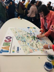 Participants at TANGO's neighbourhood summit work on a map of all neighbourhood and resident associations in Toronto