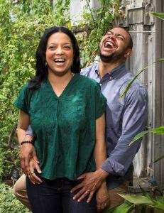 Alicia Mathlin and Jarel Cockburn embracing and laughing