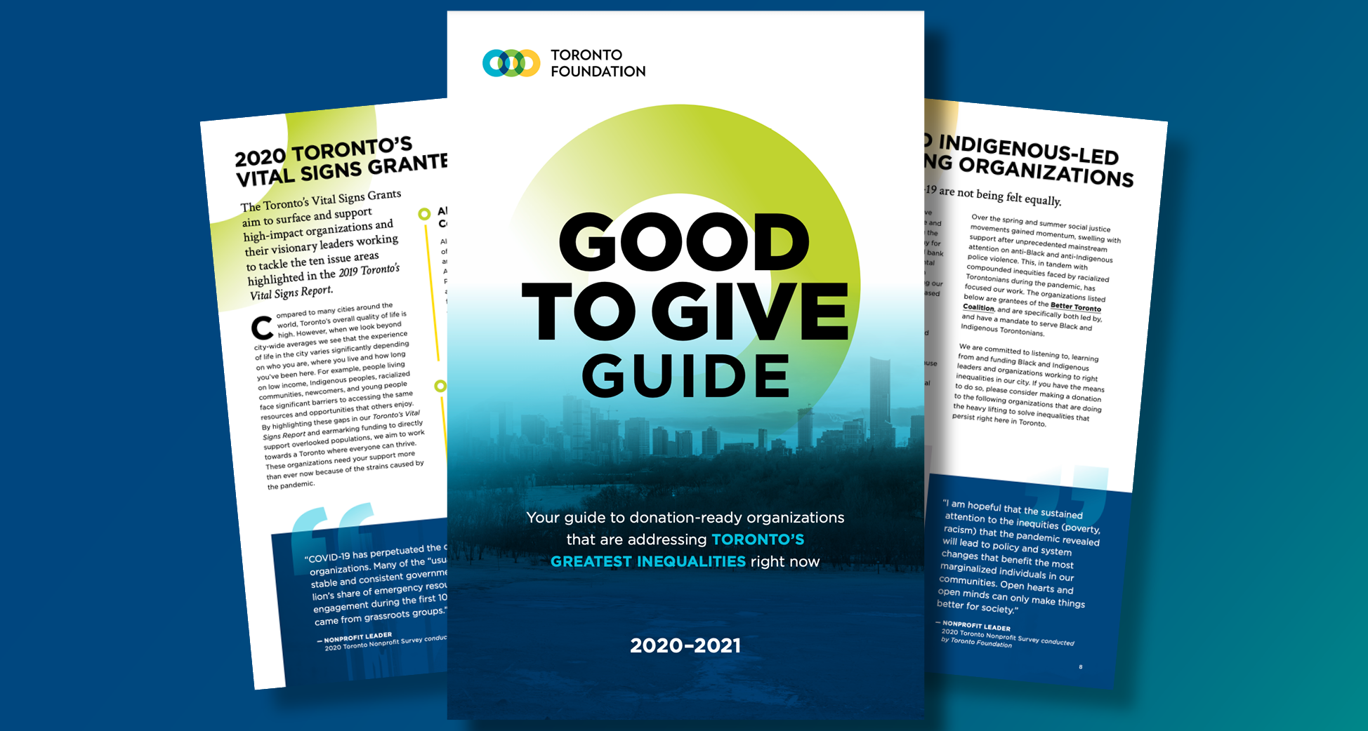 Cover of and pages from the 2020 Good to Give Guide